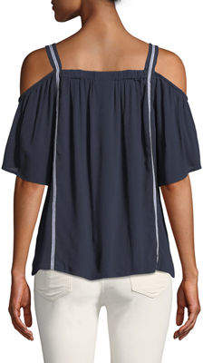 Bobeau Cold-Shoulder Embroidered Peasant Blouse