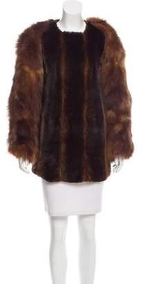 Toga Leather-Trimmed Fur Dress