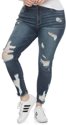 Mudd Juniors' Plus Size Ripped Ankle Skinny Jeans