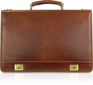 Chiarugi Handmade Brown Genuine Italian Leather Multi-pocket Briefcase