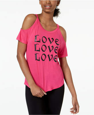 Material Girl Active Juniors' Love Cold-Shoulder Graphic T-Shirt, Created for Macy's