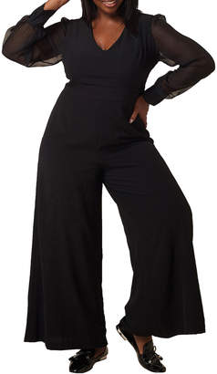 Maree Pour Toi Plus Size Wide-Leg Jumpsuit with Chiffon Sleeves