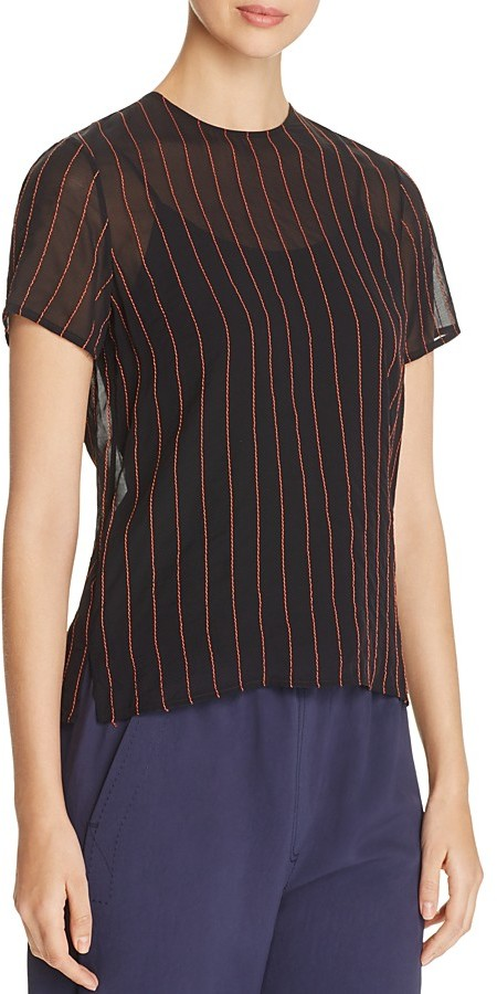 DKNY DKNY Contrast Stitching Sheer Blouse