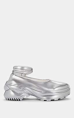 Maison Margiela Women's Metallic Leather Ankle-Wrap Sneakers - Silver