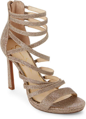 Jessica Simpson Gold Palkaya Metallic Strappy Caged Sandals