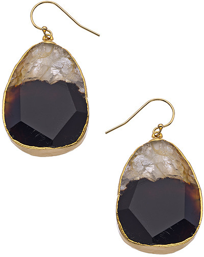 Janna Conner Designs Gold Black and White Agate Drop Earrings