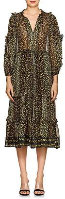 Ulla Johnson Women's Fantine Floral Silk Tiered Dress - Black