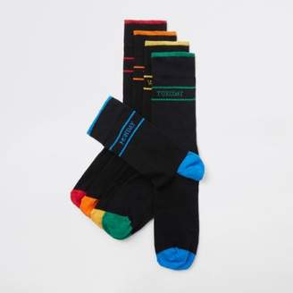 River Island Black weekday print socks multipack