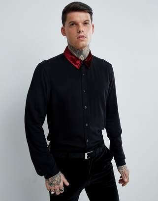 Asos Regular Fit Viscose Shirt With Velvet Collar