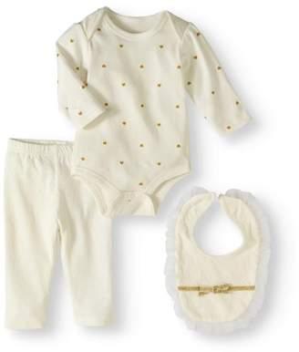 Bon Bebe Newborn Girl Bodysuit, Pants & Bib, 3pc Outfit Set