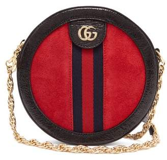 Gucci Ophidia Gg Leather And Suede Cross Body Bag - Womens - Red Multi