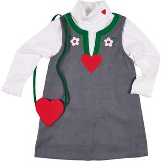 Florence Eiseman Split-Neck Jumper, Turtleneck Top & Heart Crossbody Bag, Size 2-6X