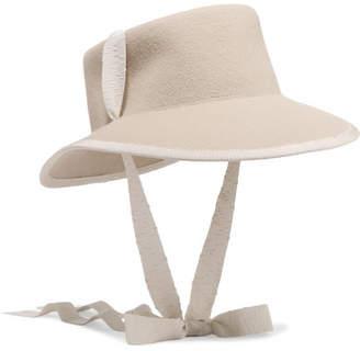 CLYDE Telescope Grosgrain-trimmed Wool-felt Hat - Beige