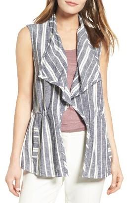 Women's Chaus Stripe Linen Blend Vest $89 thestylecure.com