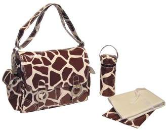 Kalencom Fashion Diaper Bag, Changing Bag, Nappy Bag, Mommy Bag, Coated Double Buckle Bag (Giraffe Chocolate/Cream)