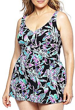 JCPenney Azul by Maxine of Hollywood® Ocean Dream Empire-Waist Swimdress - Plus