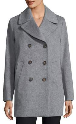 Fleurette Double-Breasted Wool Boyfriend Pea Coat