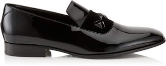 Jimmy Choo SAWN Black Patent Slipper Shoes with Black Velvet Ribbon Detail and Crystal Stone Detailing
