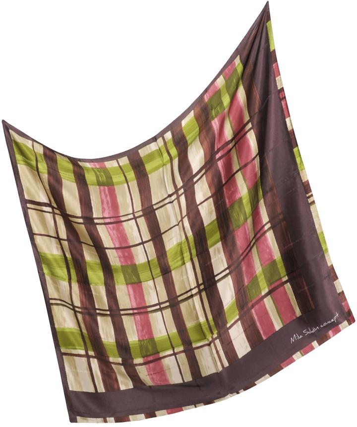 Mila Schon Multicolor Silk Twill Square Scarf