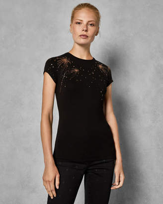 Ted Baker HALLIA Star foil fitted T-shirt
