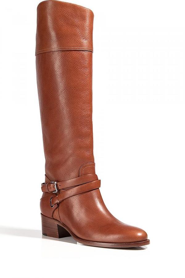 Ralph Lauren Saddle Tumbled Riding Boots Sahara