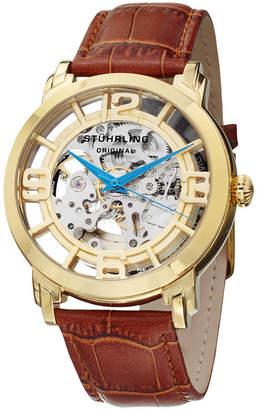 Stuhrling Original Mens Brown Strap Watch-Sp11335