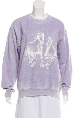 Baja East Distressed Graphic Sweatshirt