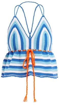 My Beachy Side - Serena Crochet Halter Crop Top - Womens - Blue Multi