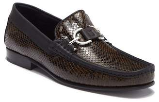 Donald J Pliner Dacio Snake Embossed Leather Bit Moc Loafer