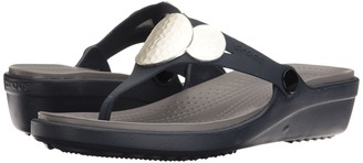 Crocs - Sanrah Embellished Wedge Flip Women's Wedge Shoes $40 thestylecure.com