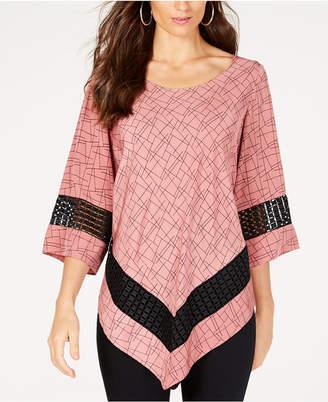 Alfani Printed Crochet-Trim V-Hem Top