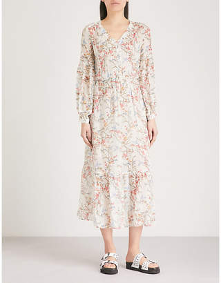 The Kooples Floral-print silk-muslin midi dress
