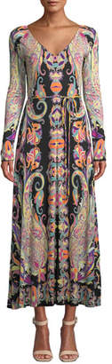Etro Long-Sleeve Deco-Paisley V-Neck Midi Dress