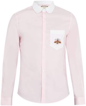 Gucci Contrast-collar beetle-embroidered cotton shirt