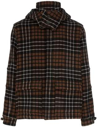 Gloverall Lou Dalton x check print knitted hooded jacket