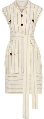 Derek Lam 10 Crosby Layered Striped Jacquard Mini Shirt Dress