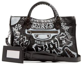 Balenciaga Classic City Graffiti Bag - Womens - Black White