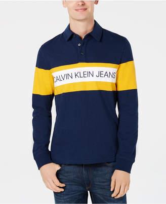 Calvin Klein Jeans Men's Colorblocked Logo-Print Rugby Polo