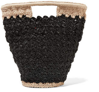 Carrie Forbes - Lily Woven Faux Raffia Bucket Bag - Black