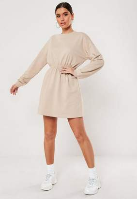 Missguided Stone Ruched Waist Sweater Dress