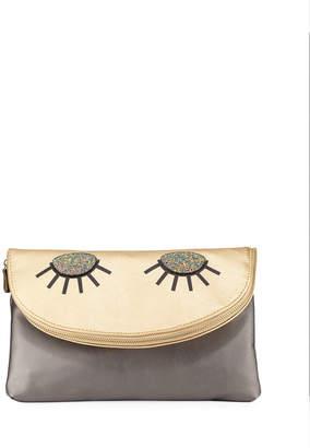 Neiman Marcus Lola Glitter Eyes Flap Clutch Bag