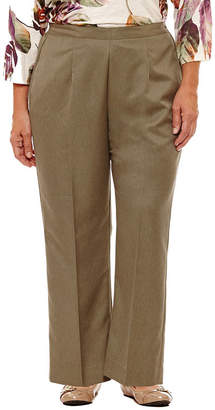 Alfred Dunner Palm Desert Womens Straight Flat Front Pant-Plus Short