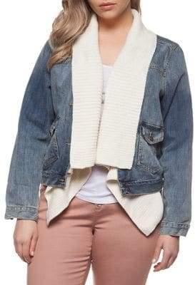 Dex Plus Ribbed Collar Denim Jacket