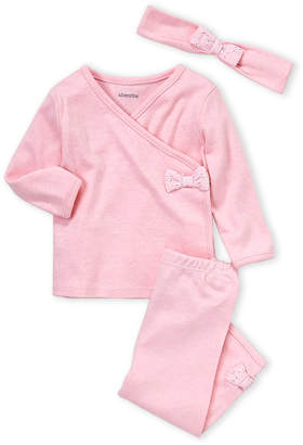 Absorba Newborn Girls) 3-Piece Pink Bow Top, Pants & Headband Set