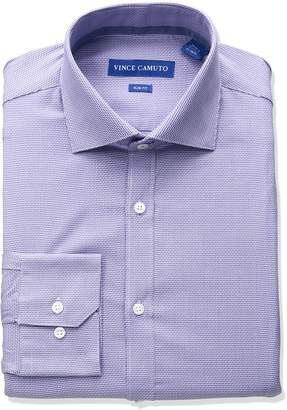 Vince Camuto Men's Slim Fit Stretch Diagonal Dobby Dress Shirt with Collar