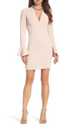 Vince Camuto Crystal Choker Bell Sleeve Sheath Dress