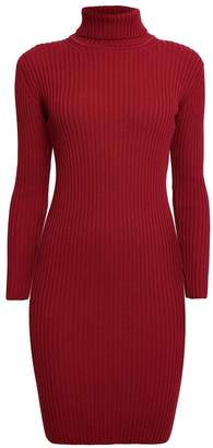 Rumour London - CLAUDIA Red Ribbed Turtleneck Dress