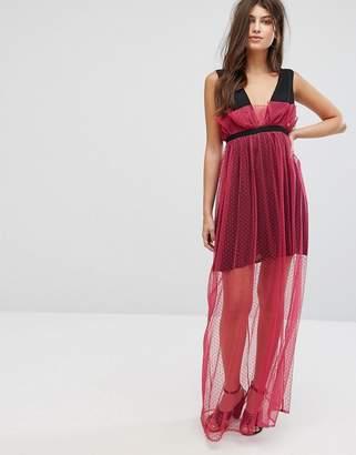 Fashion Union Maxi Dress With Sheer Metallic Spot Mesh Layer