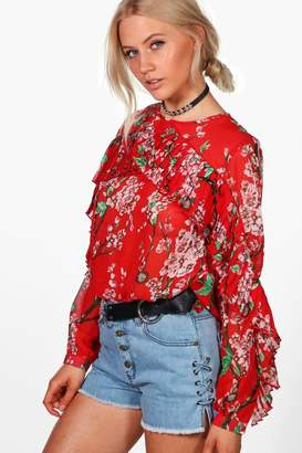 boohoo Alice Ruffle Sleeve Floral Blouse