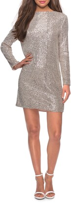 La Femme Long Sleeve Sequin Stripe Cocktail Shift Dress